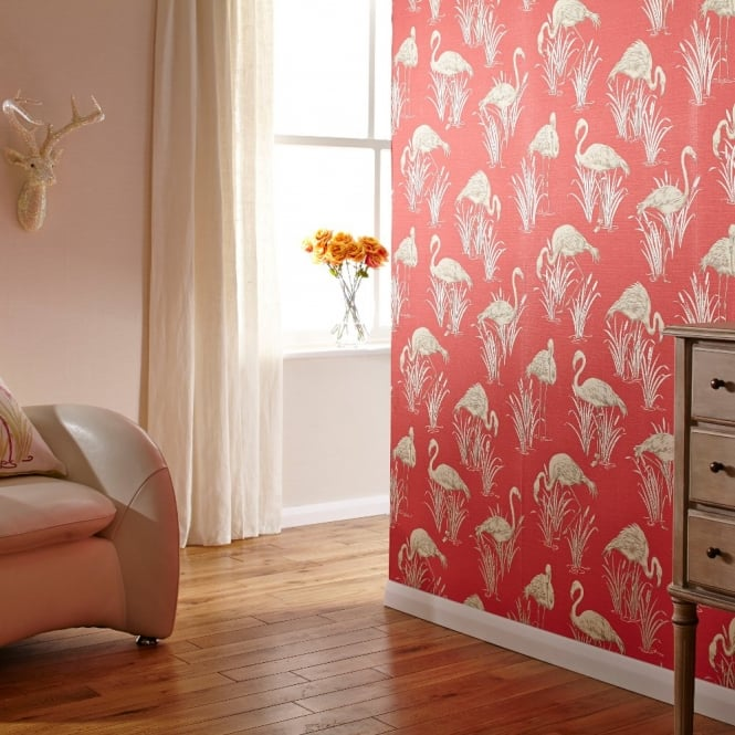 Vintage Lagoon Traditional Oriental Flamingo Textured Wallpaper 252601 665x665