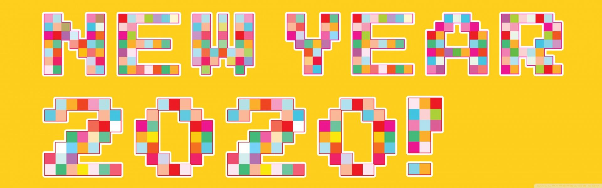 Happy New Year 2020 Pixel Art 4K HD Desktop Wallpaper for 4K 1920x600