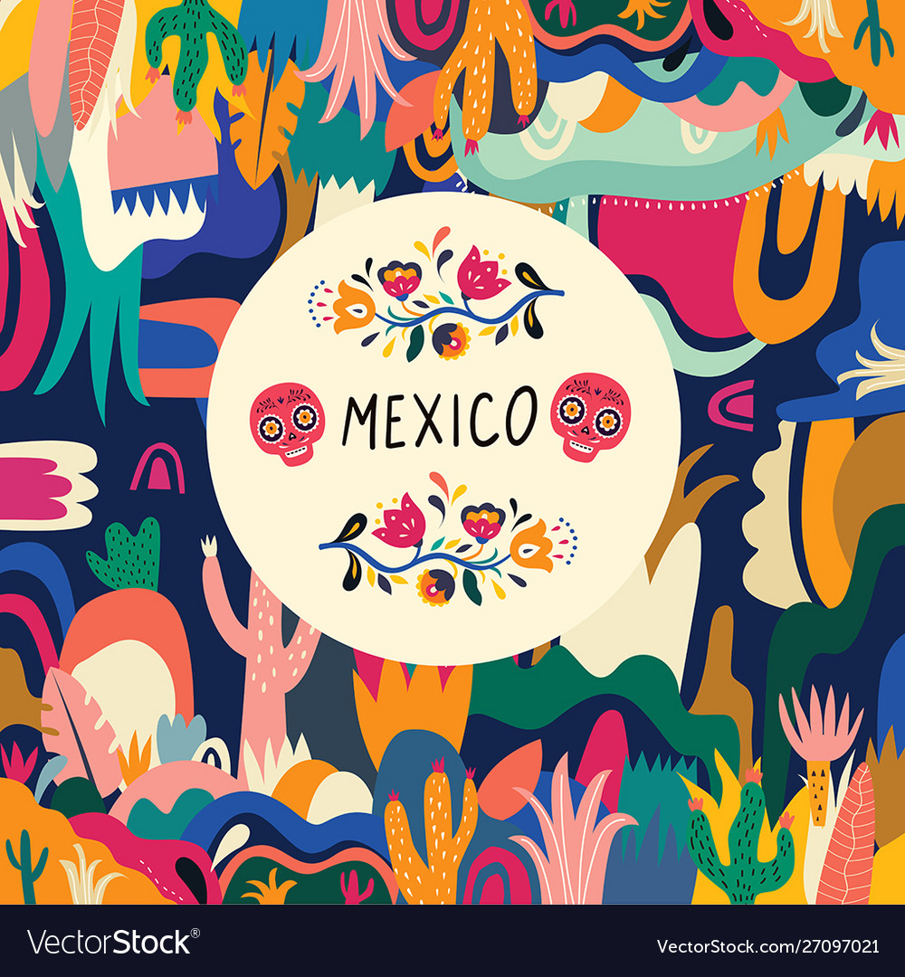 Colorful background mexico Royalty Vector Image 1000x1080