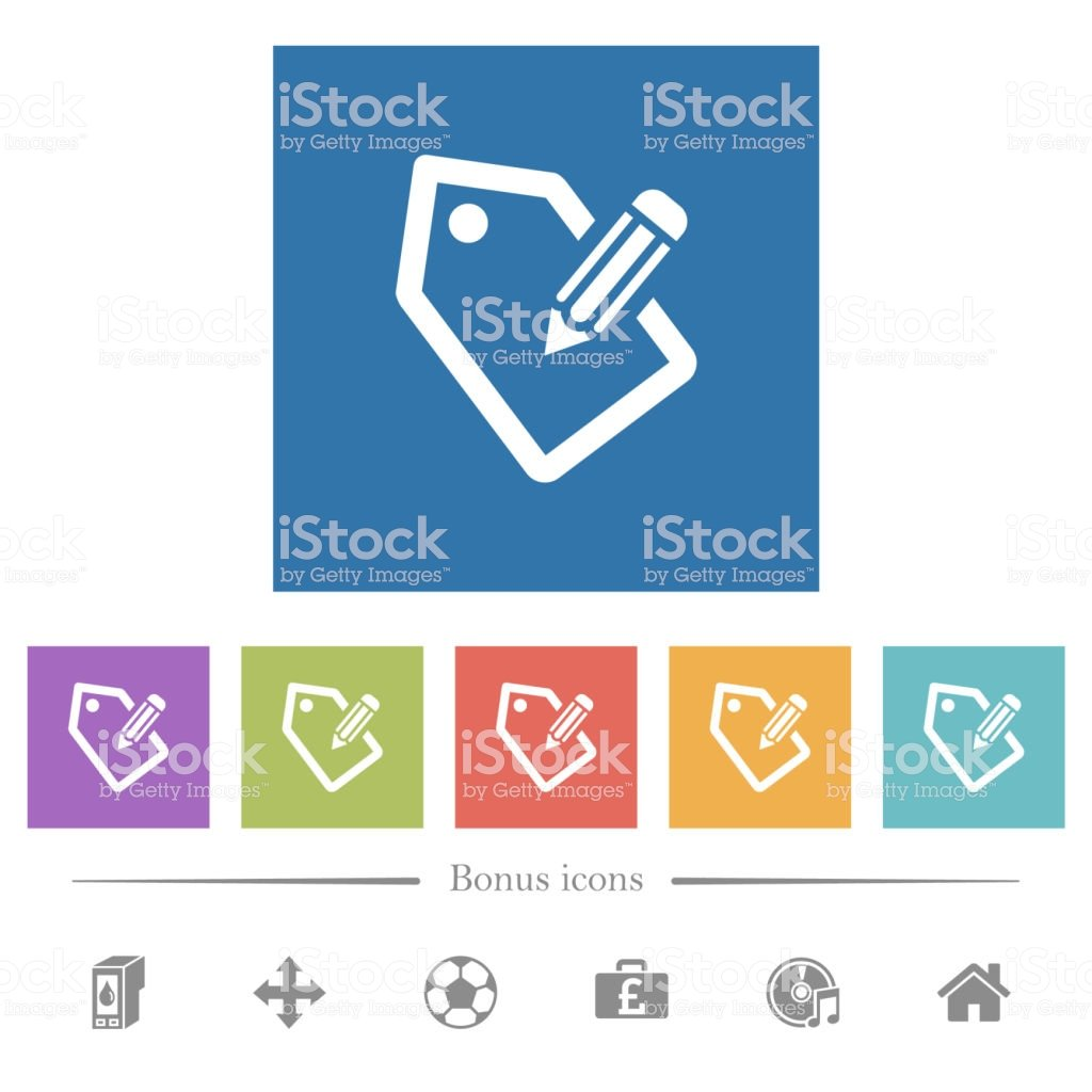 Tagging With Pencil Flat White Icons In Square Backgrounds Stock 1024x1024