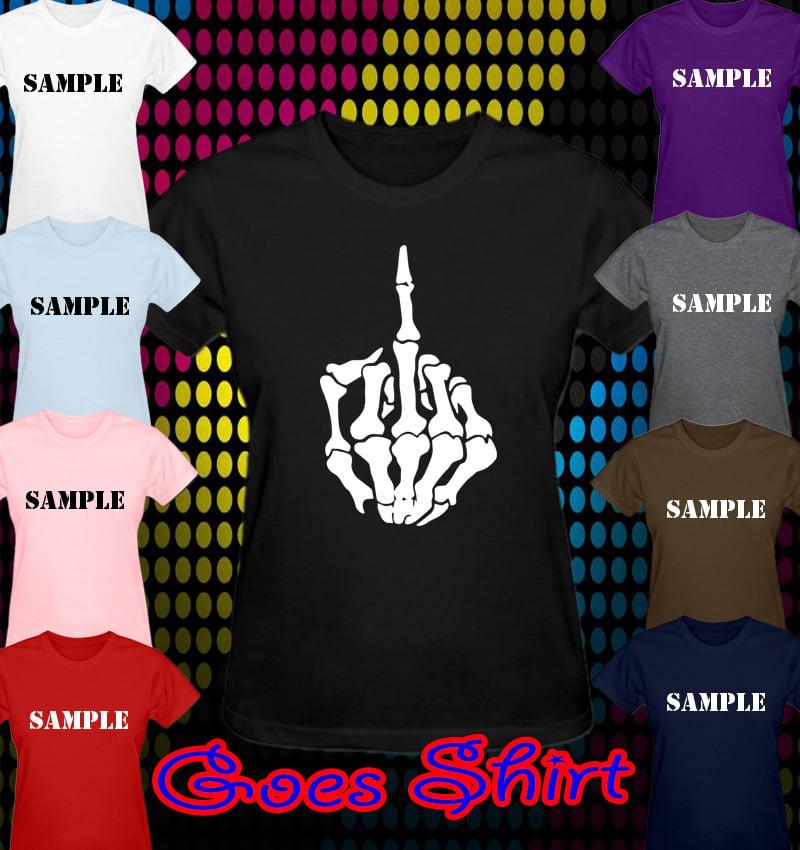 Middle Finger Skeleton Bone Skull Women T Shirt All Colors All Sizes 800x850