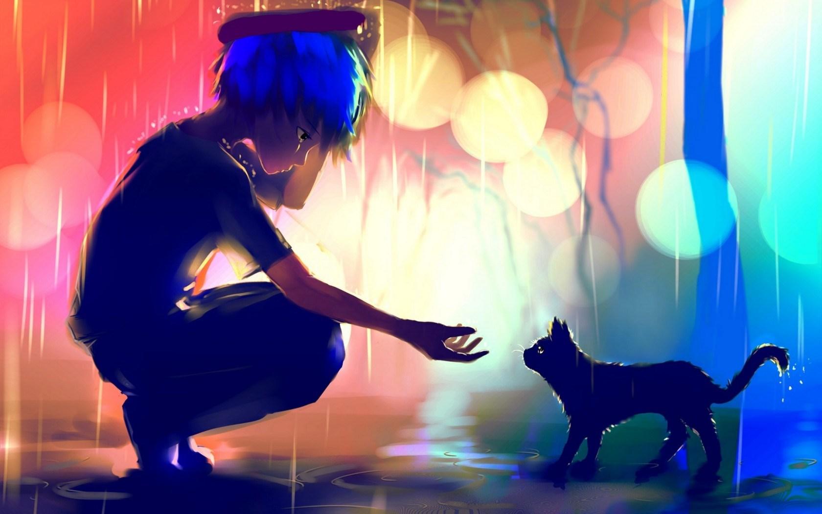 Free Download Manga Anime Wallpaper Drawing Art Boy Cat Rain Friend Bokeh 1680x1050 For Your Desktop Mobile Tablet Explore 74 Anime Boy Wallpaper Anime Guy Wallpaper Hd Boys Wallpapers
