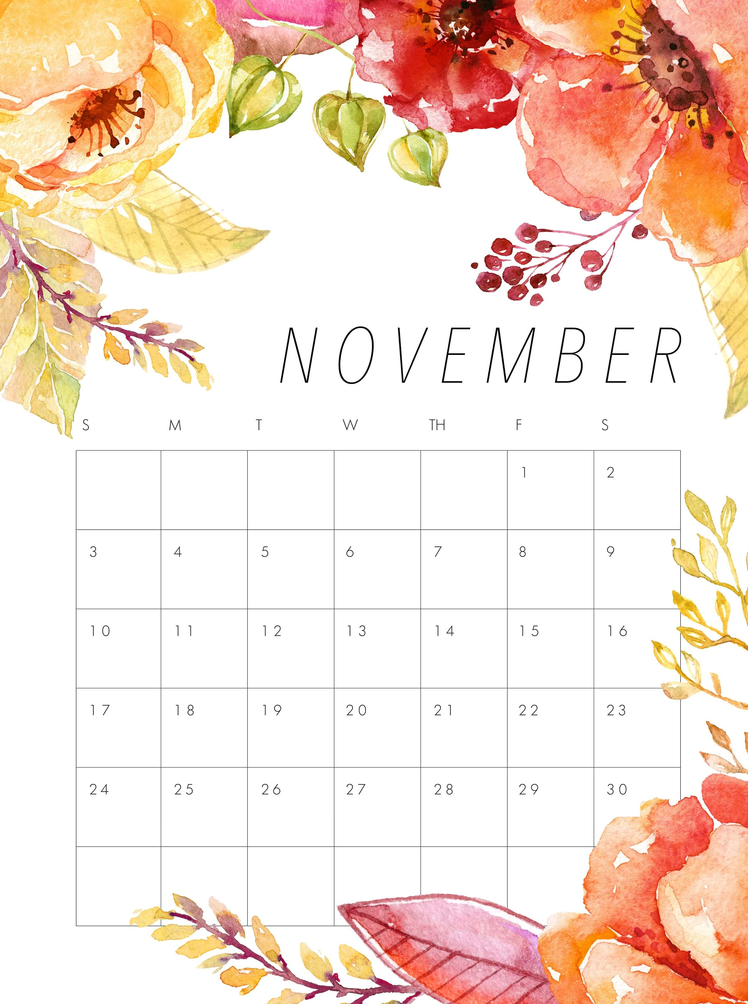 Cute November 2019 Calendar Design Template Printable Business 2406x3228