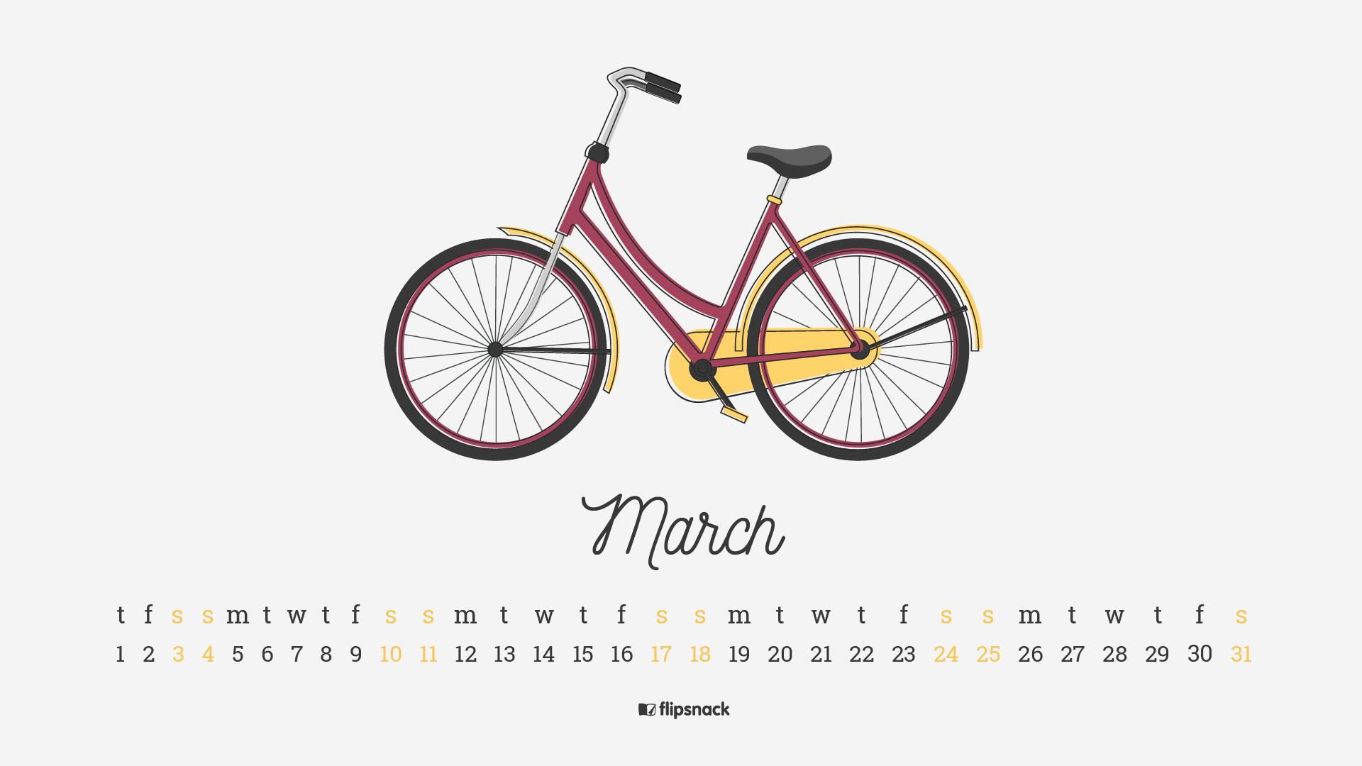 March 2018 wallpaper calendar for desktop background 1920x1080