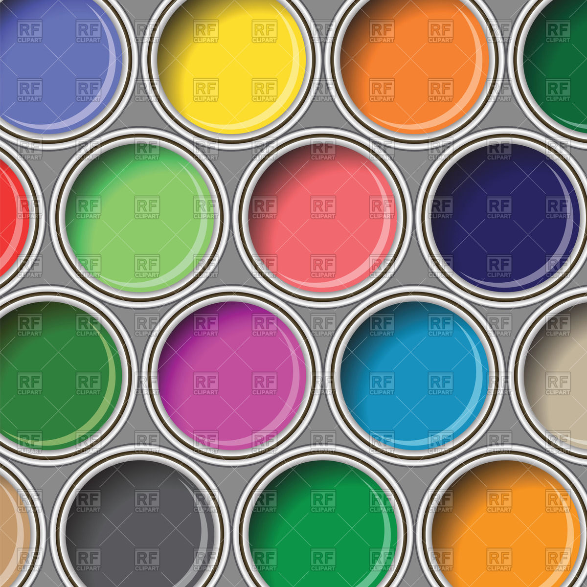 Background with oil paint buckets top view Vector Image of 1200x1200