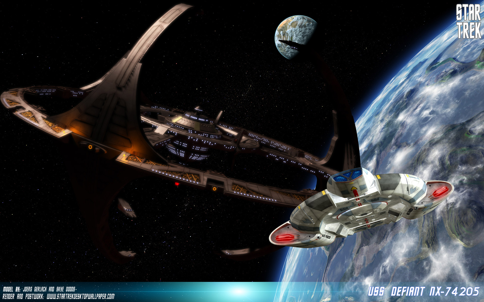 Deep Space Nine USS Defiant Star Trek computer desktop wallpaper 1920x1200