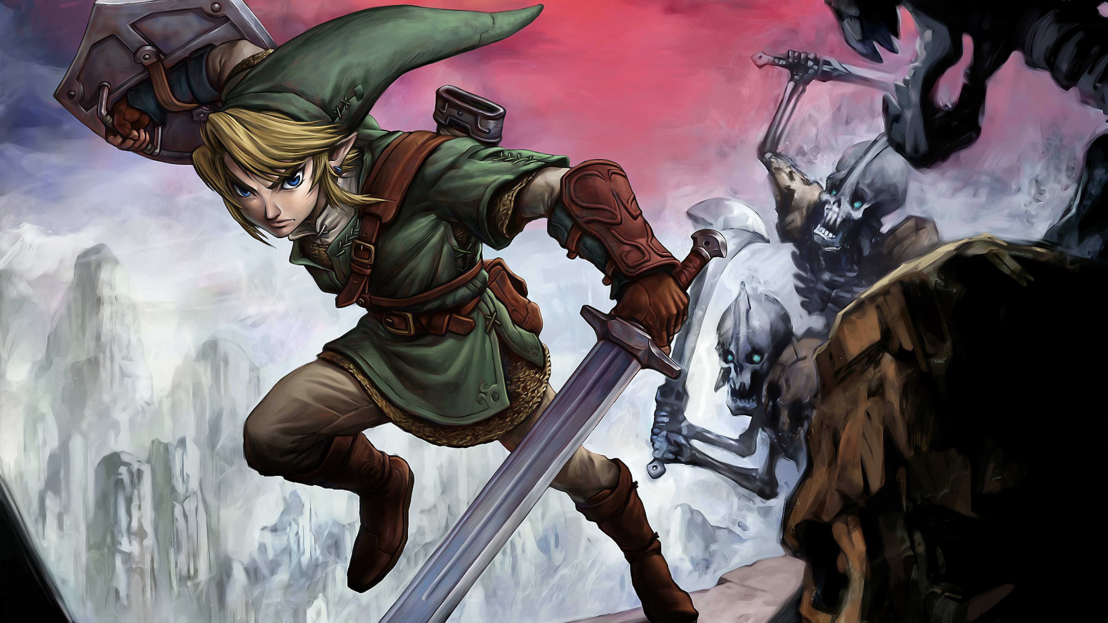Download Wallpaper 3840x2160 Link Zelda Battle Elf 4K Ultra HD HD 3840x2160