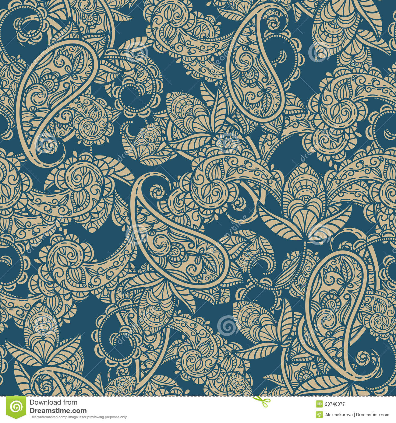Blue Paisley Background Get Fr 1300x1390