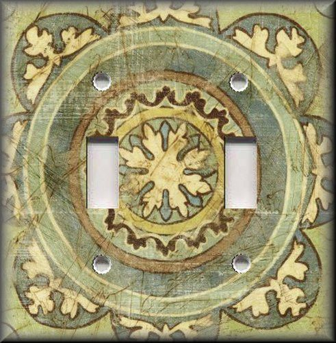Light Switch Plate Cover   Old World Tuscan Distressed Medallion   Gr 491x500