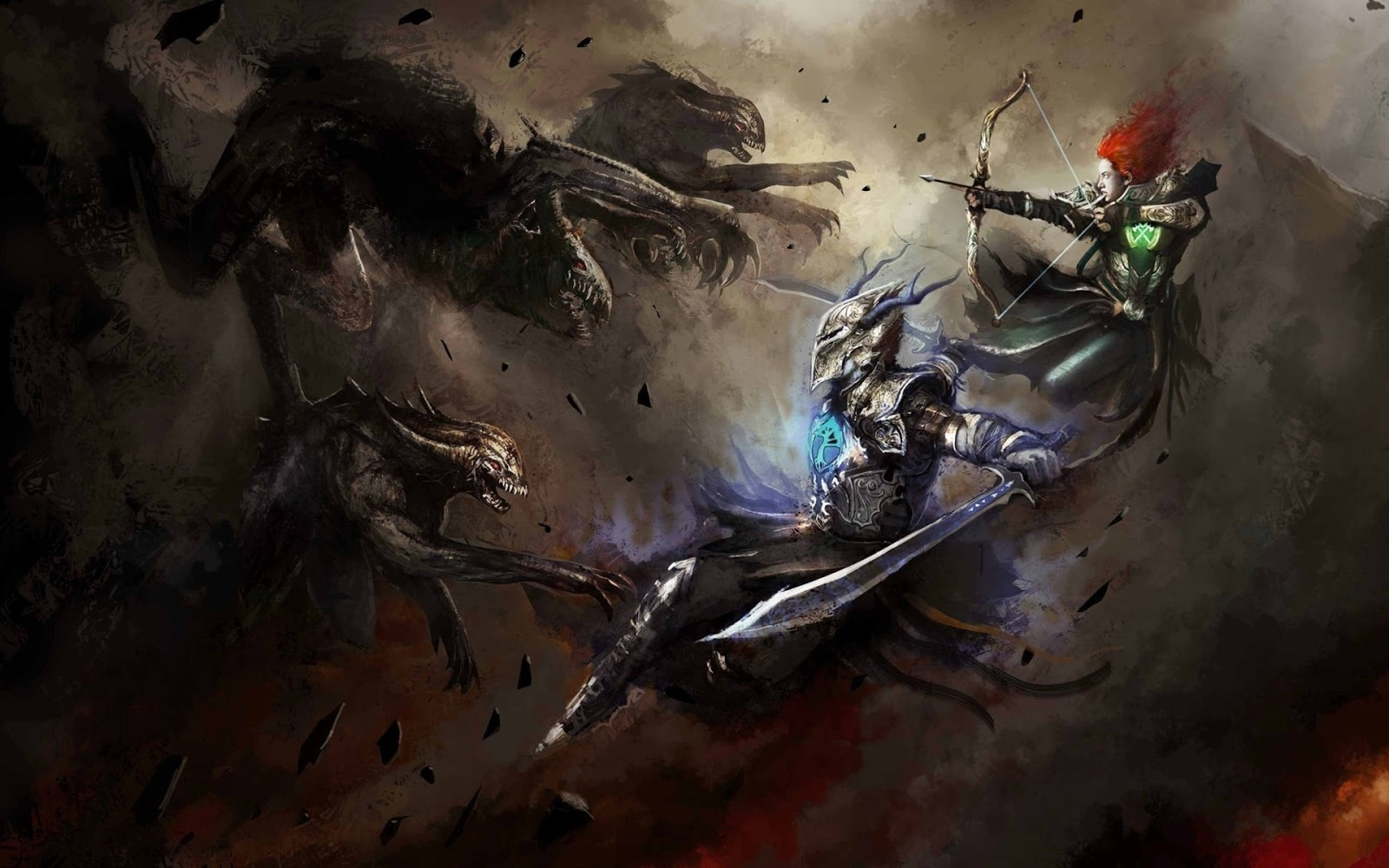 Beast Fighting Armor Sword Bow Fantasy HD Wallpaper Backgrounds Photo 1600x1000