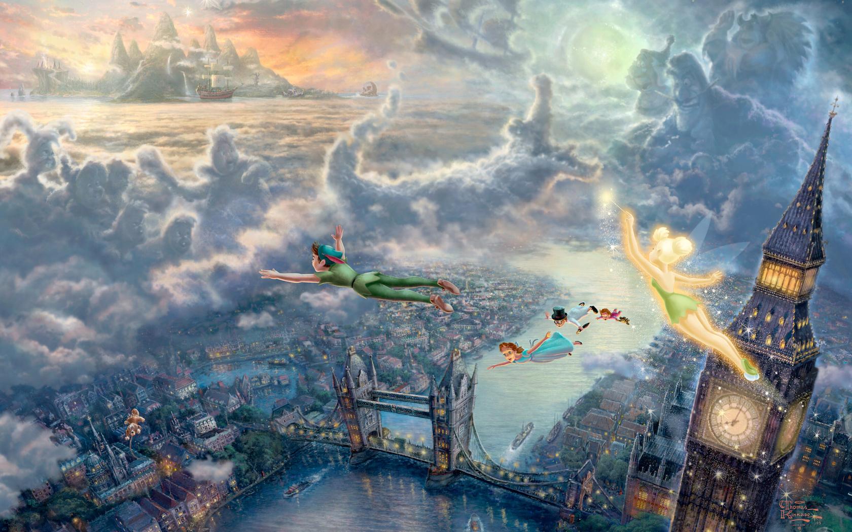 Pan Fly to Neverland Painting Art Wallpaper HD Desktop Wallpapers 1680x1050