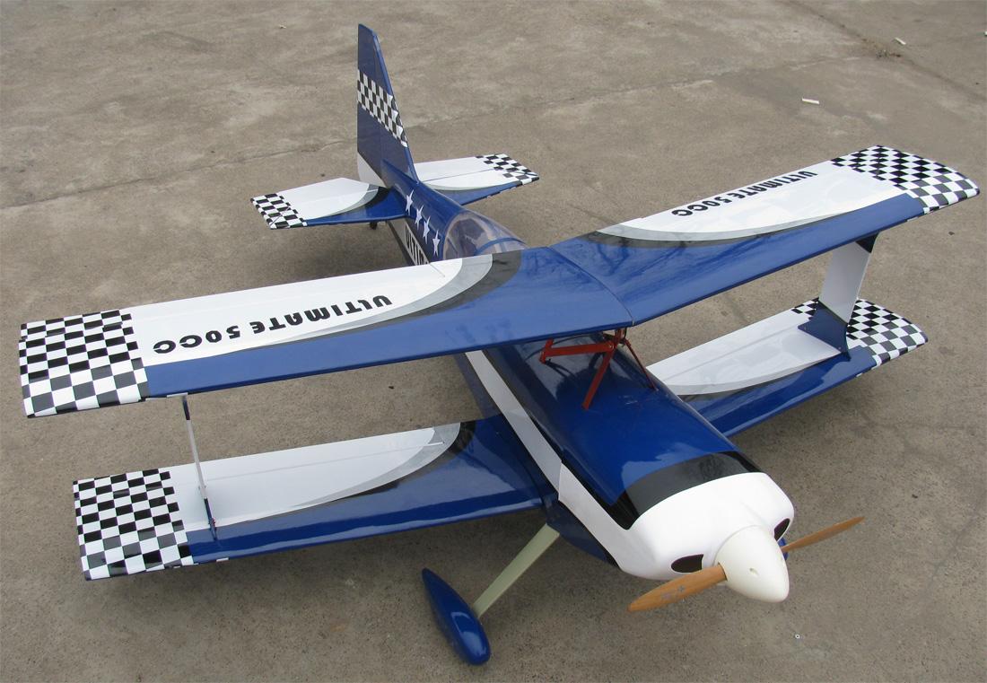 Catalog Ultimate 120 55 Nitro Gas Bipe RC Airplane ARF Blue 1100x761