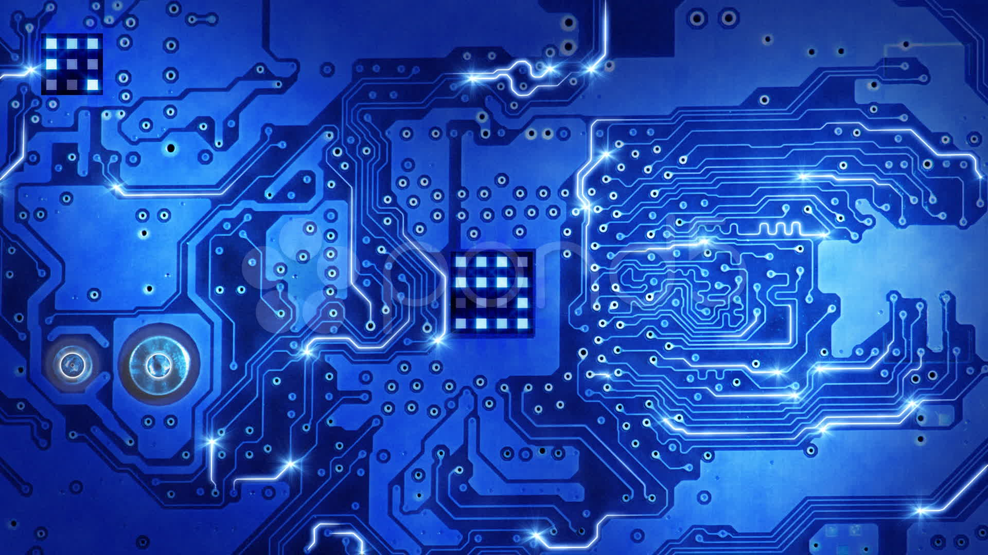 Computer Circuit Board Blue Loopable Background 1920x1080