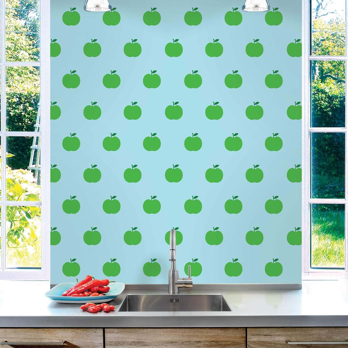 Apple BlueGreen Removable Wallpaper Half Kit   WallCandy Arts 1200x1200