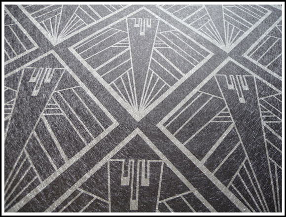 Geometric perfect black Art Deco Design on Silver Vinyl Wallpaper by 580x440