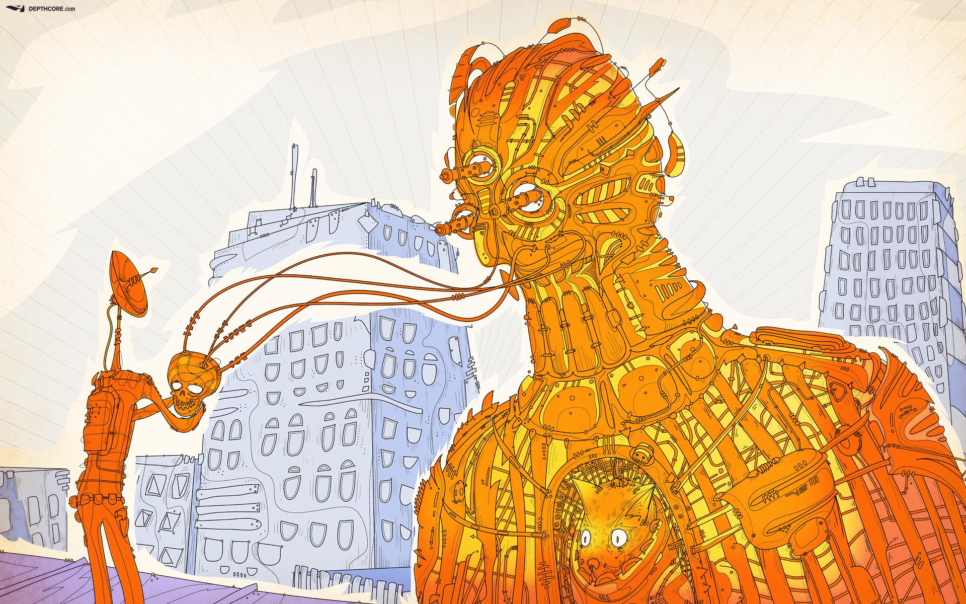 Retro Robot Wallpaper Backgrounds 1920x1200