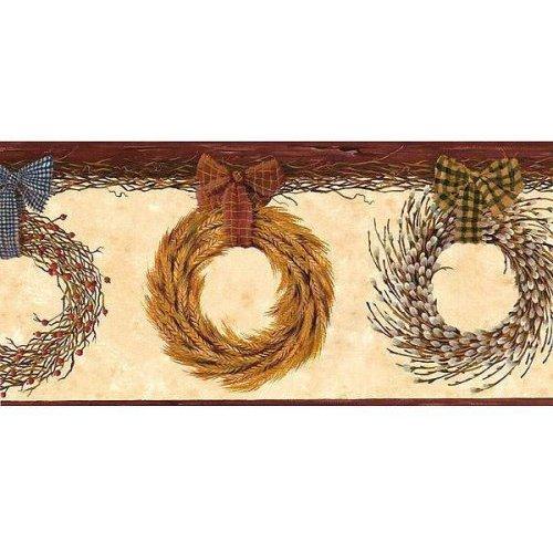 Country Wreaths Wallpaper Border Primitive Berry Garland Ribbon 500x500