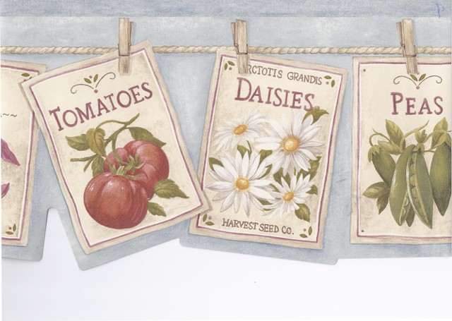 Blue Hanging Signs Vegetables Floral Wallpaper Border   Novelty 640x455