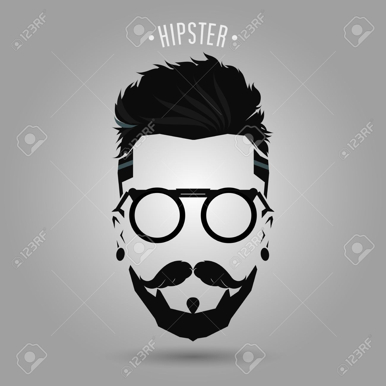 Free Download Hipster Men Beard Style Symbol On Gray