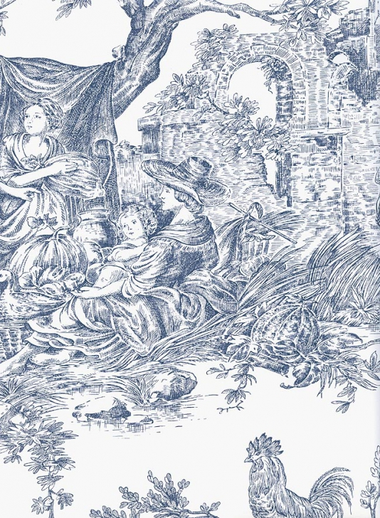 Blue Toile De Jouy Wallpaper French Scenic Wallpaper 534x728