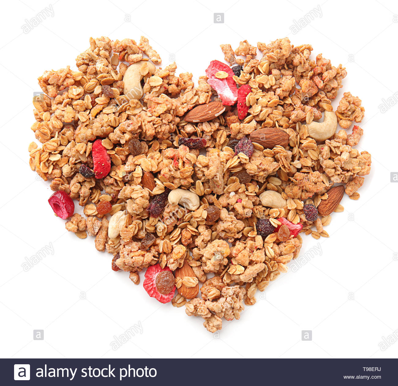 Heart made with granola on white background Stock Photo 246664310 1300x1261