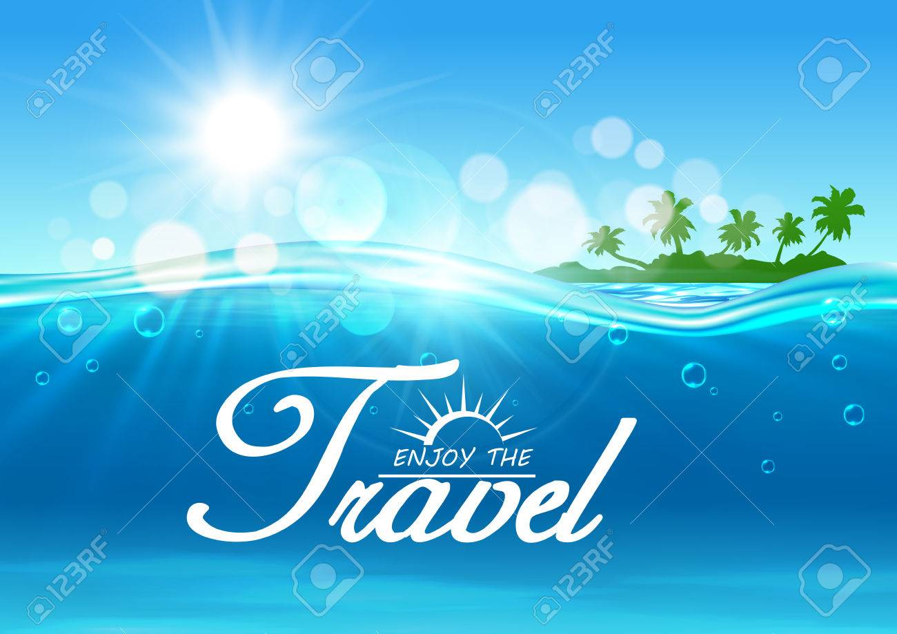 Enjoy Travel Poster Summer Vacation Background With Ocean Water 1300x919