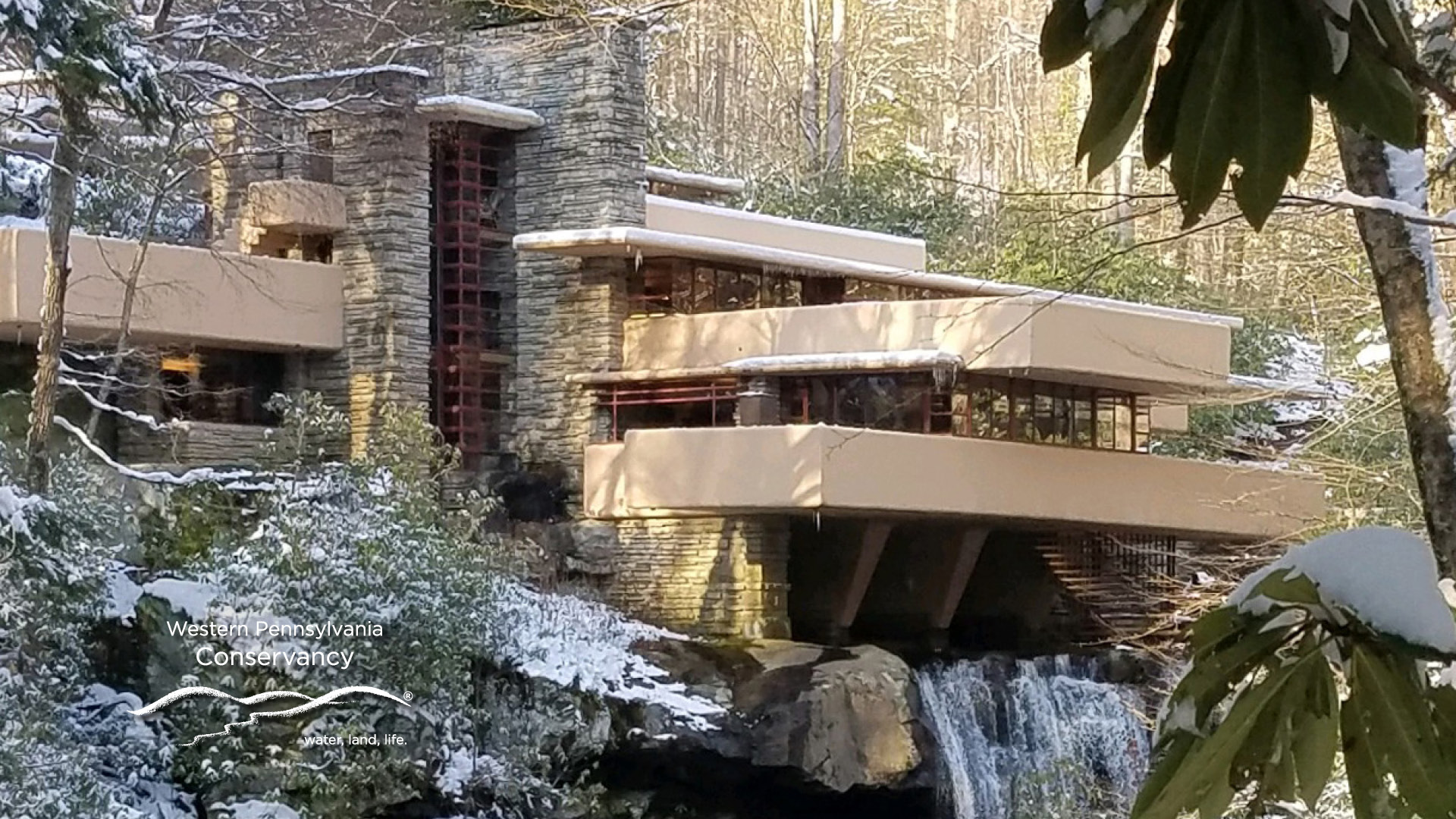 Fallingwater Virtual Background Fallingwater Light Snow   Fallingwater 1920x1080