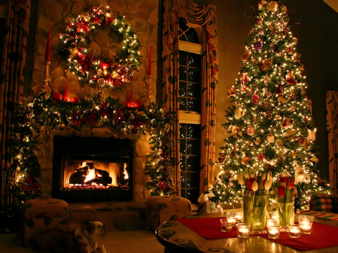 Christmas Tree and Fireplace   Wallpapers Pictures Pics Photos 1152x864