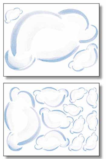 Puffy Clouds Wallies Mural 15206   Wallpaper Border Wallpaper inc 350x525