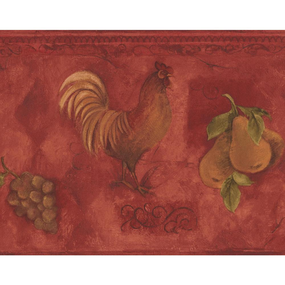 Norwall Rooster Grapes Pears Cherries Red Prepasted Wallpaper 1000x1000
