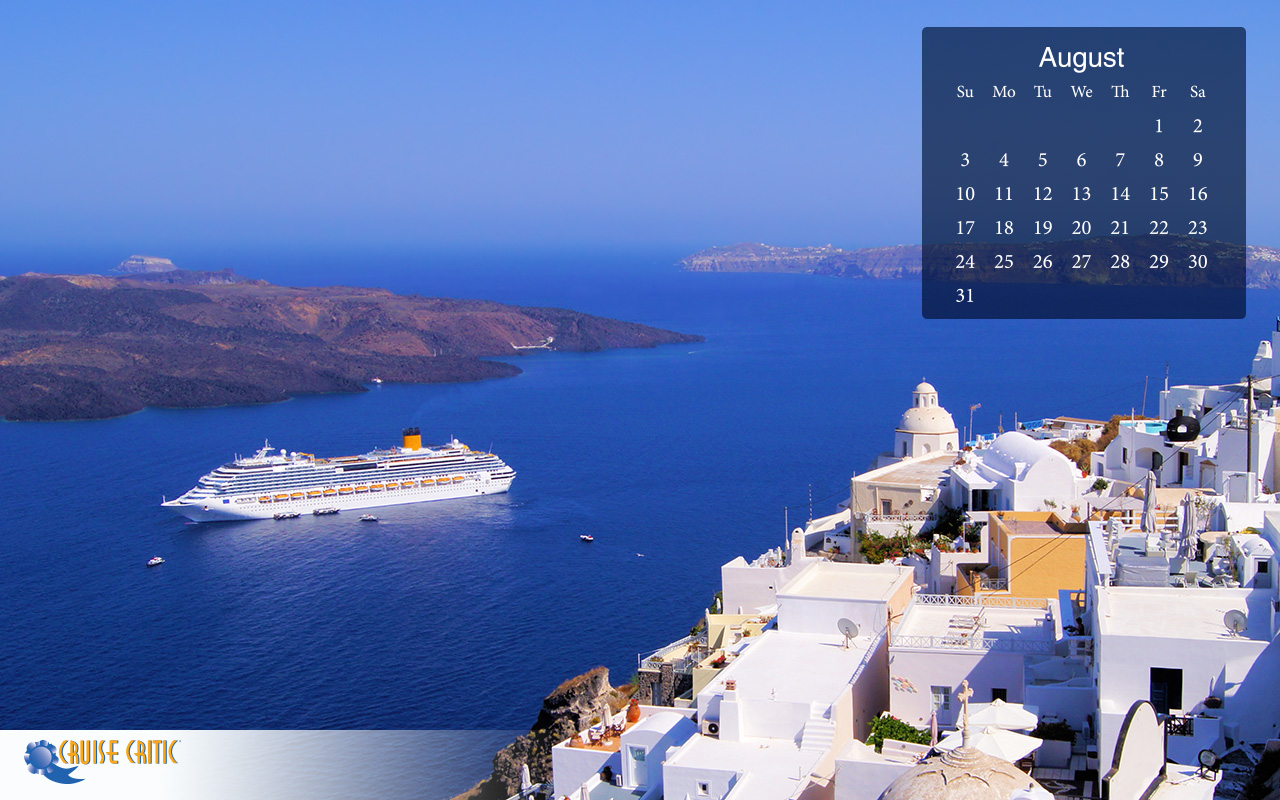 August 2014 Calendar Desktop Wallpaper Santorini Sailing The Lido 1280x800