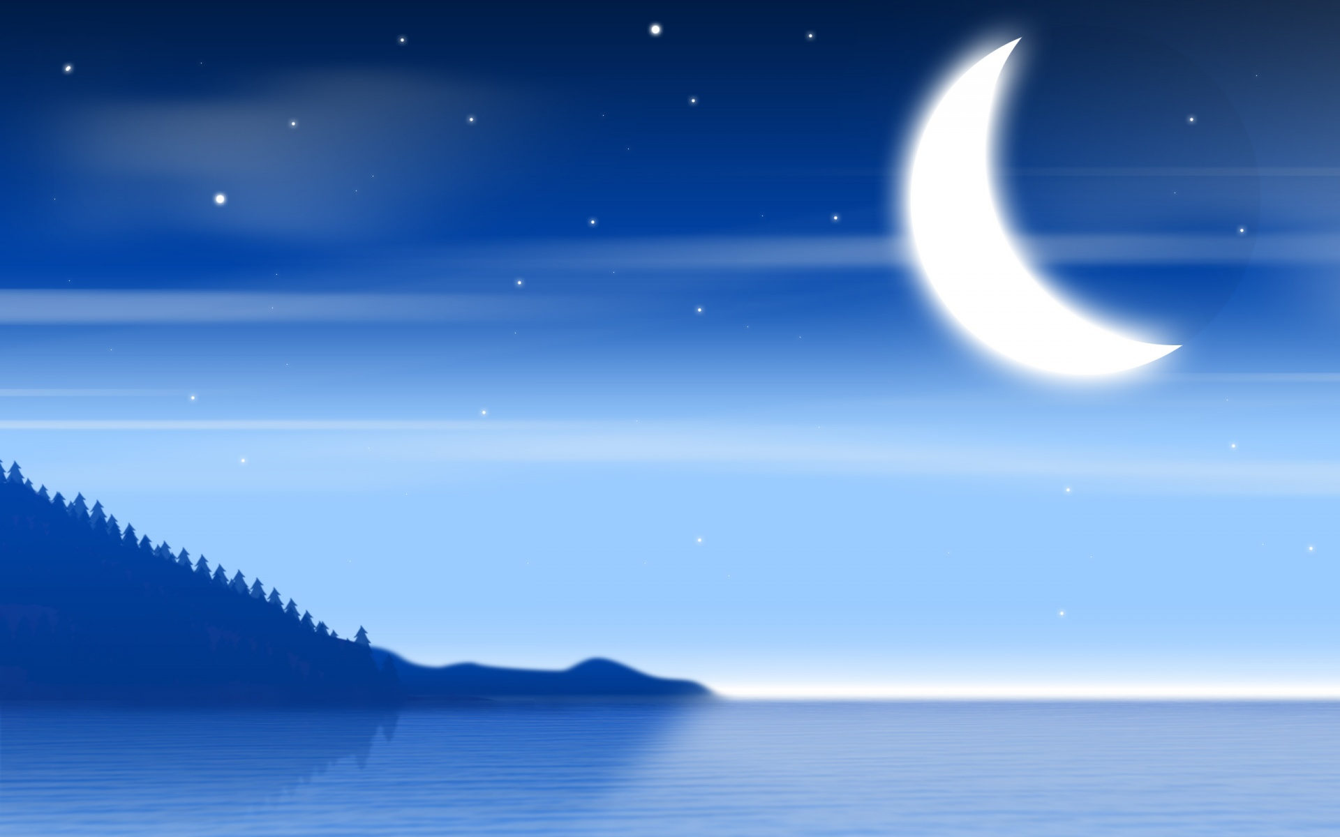 Moon with Sea PPT Backgrounds for your PowerPoint Templates 1920x1200