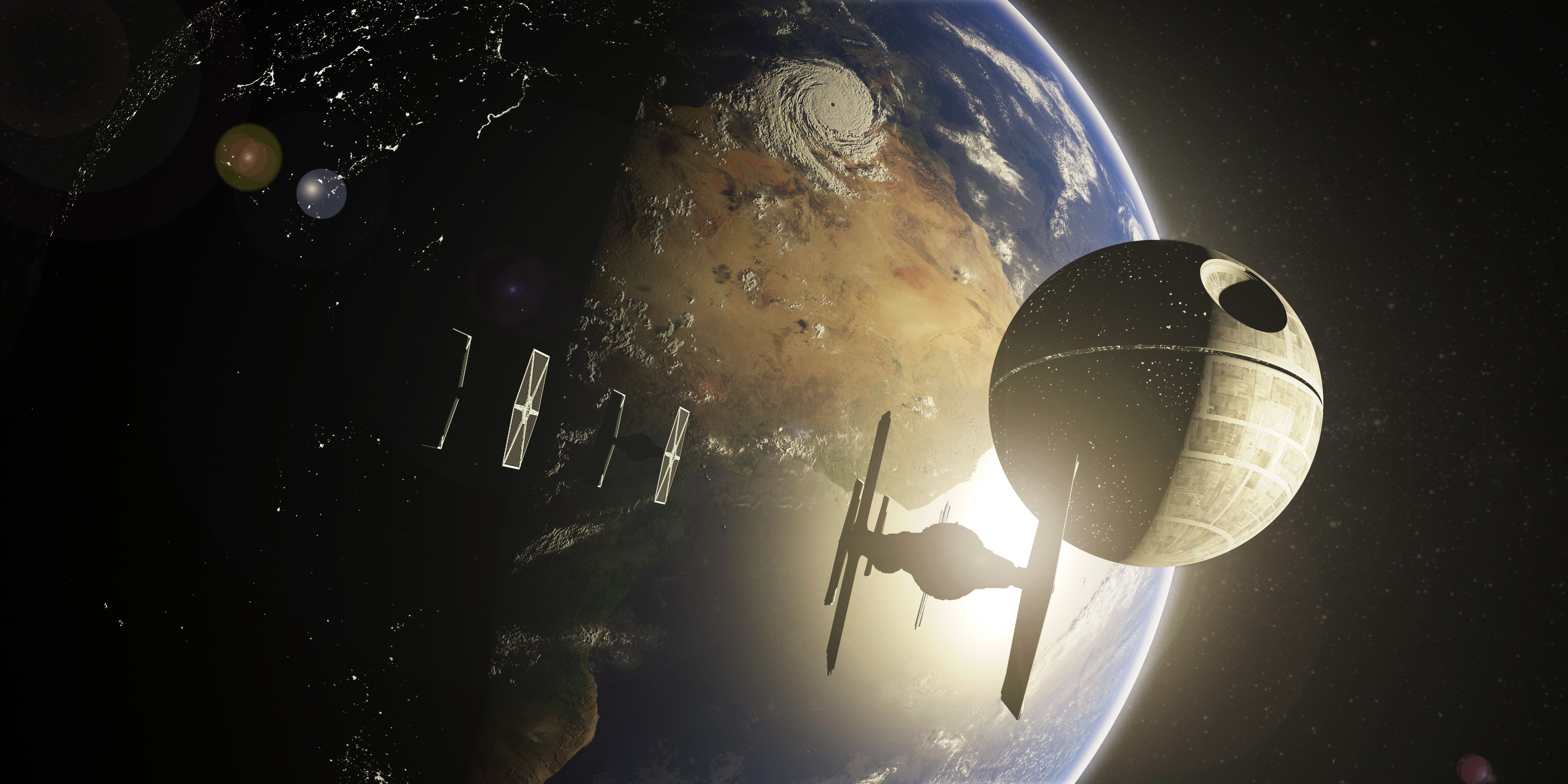 Free Download Star Wars Death Star Tie Fighter Space Planet Earth