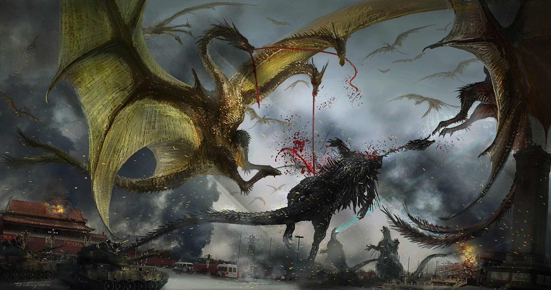 Ghidorah the Three Headed Monster Wallpaper and Background Image 1920x1010