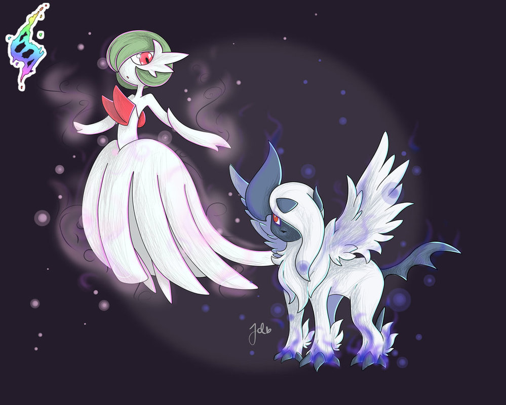 Mega Gardevoir and Absol by JaidenAnimations 999x799