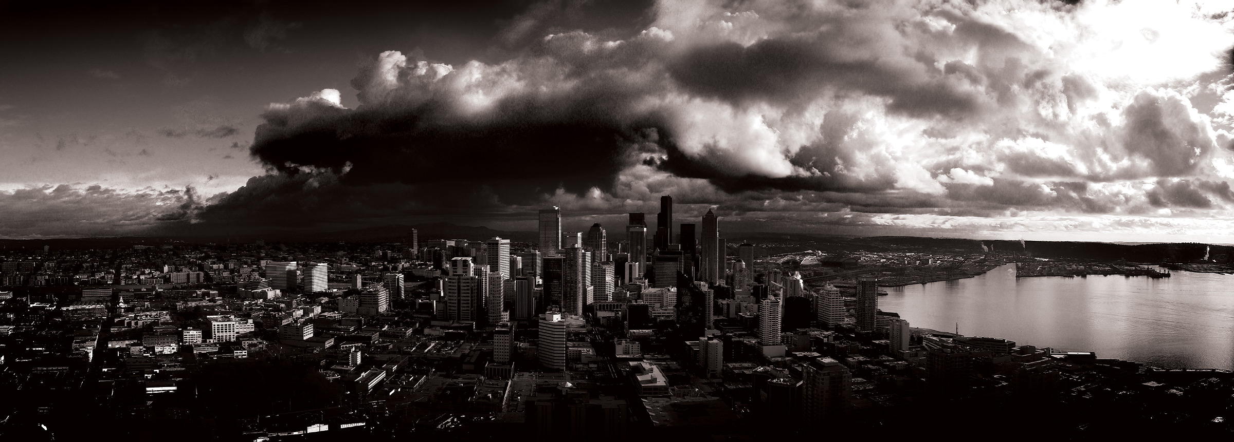 stormy seattle grayscale dual monitor hd quality HD Wallpaper 2400x861