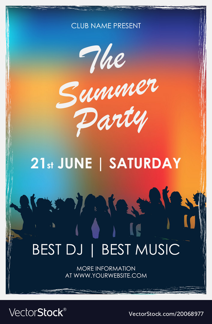 Flyer to summer party with colorful background Vector Image 706x1080