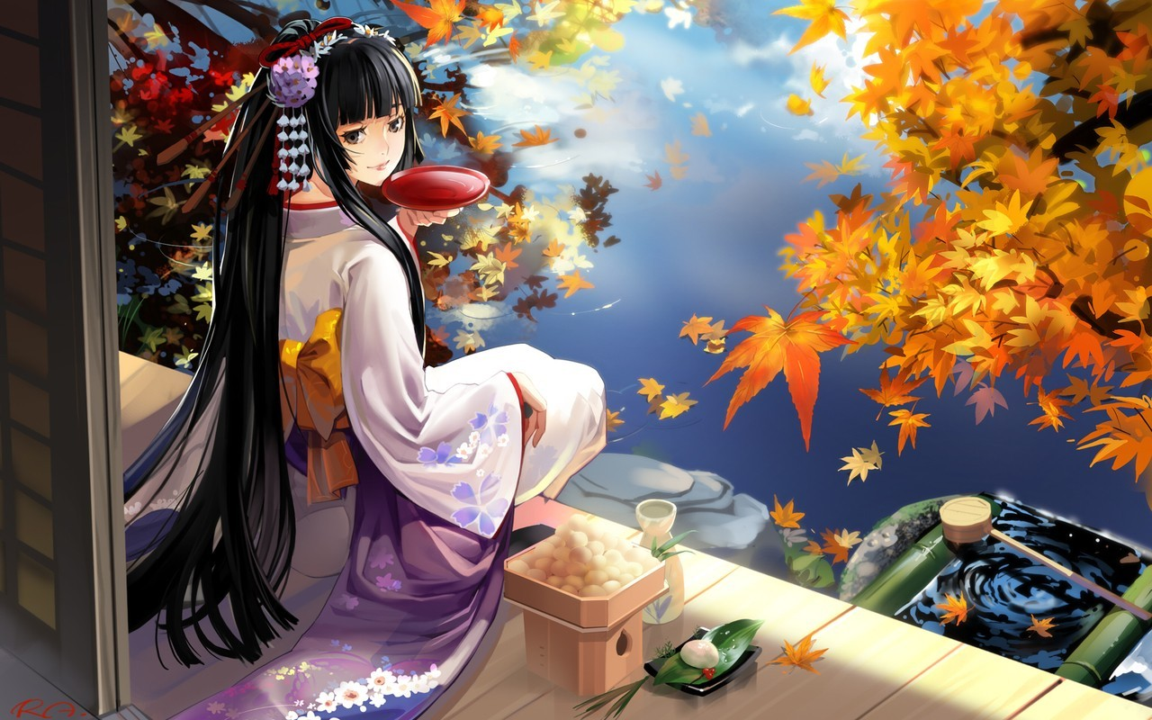 Autumn Horses Anime Geisha At Lake Wallpapers 2014 HQ Backgrounds 1280x800