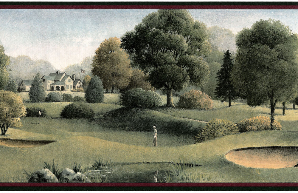 Man Cave Scenery Golfers Green Tee Off Pond Wallpaper Wall Border 1000x647