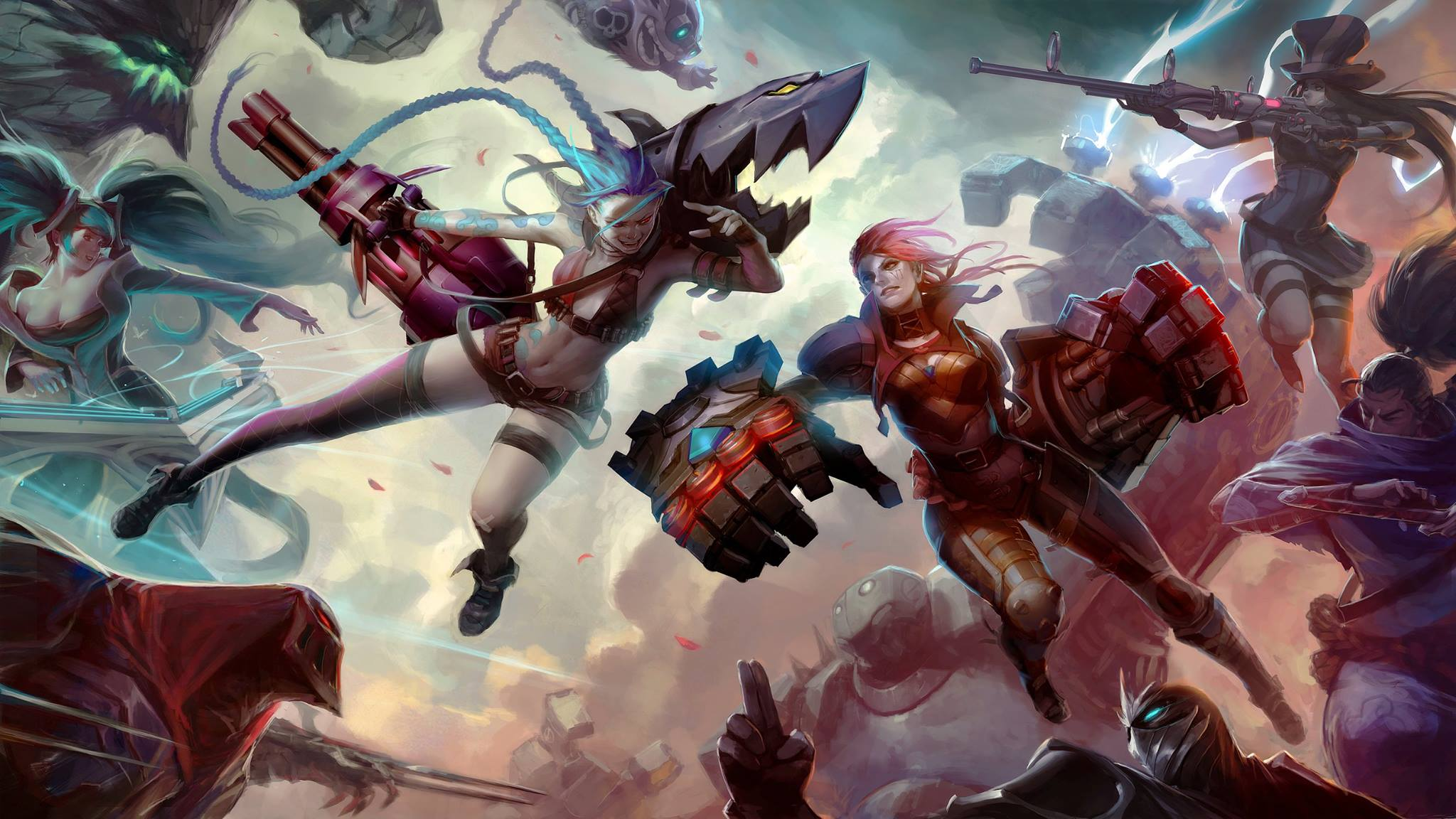 Jinx vs Vi Fan Art   League of Legends Wallpapers 2048x1152