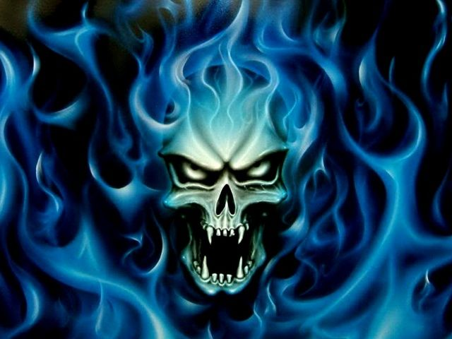 related pictures download skull blue fire mobile wallpaper mobile 640x480