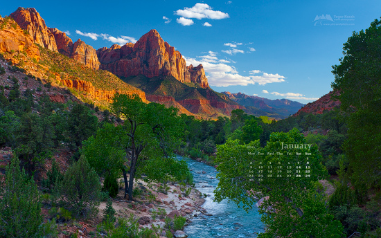 Wallpaper Calendar January 2012 The Watchman Zion National Park 550x344