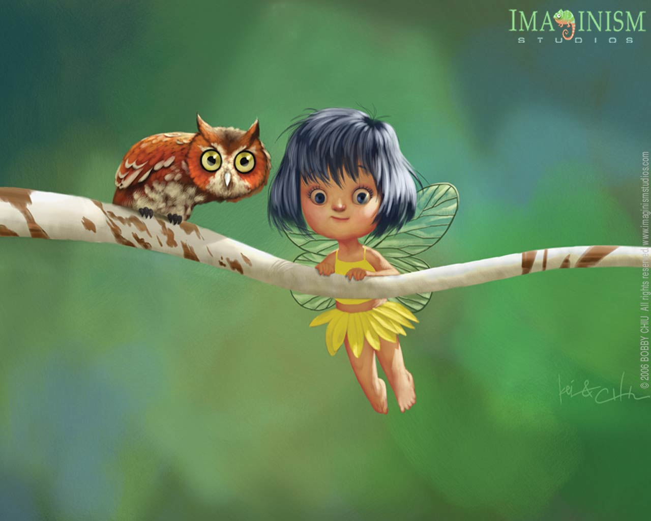 Cute Little Fairy and the Owl Cartoon Wallpaper Funny illustration 1280x1024