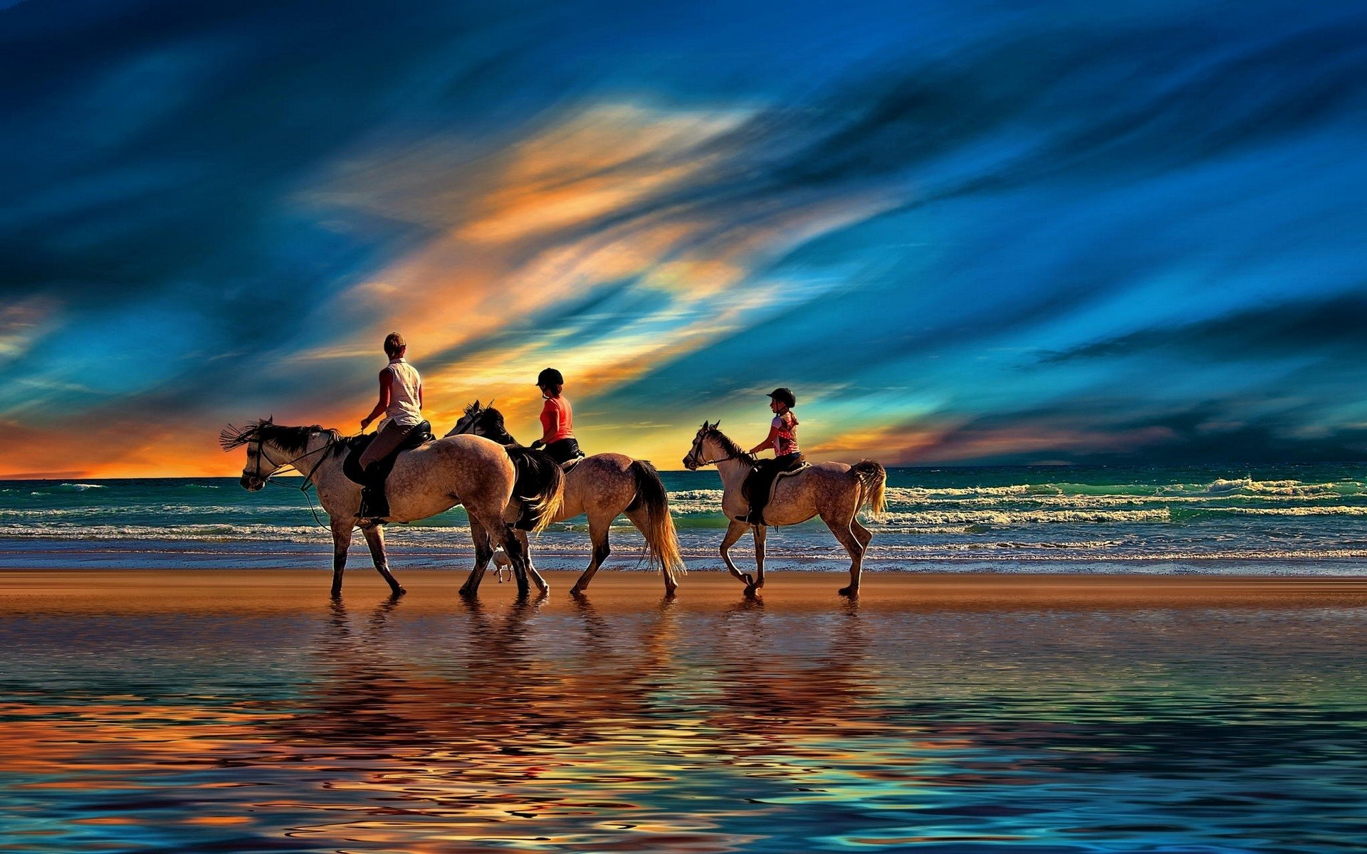 Riding on the Beach   Horseback Riding Wallpaper 42657153 1920x1200