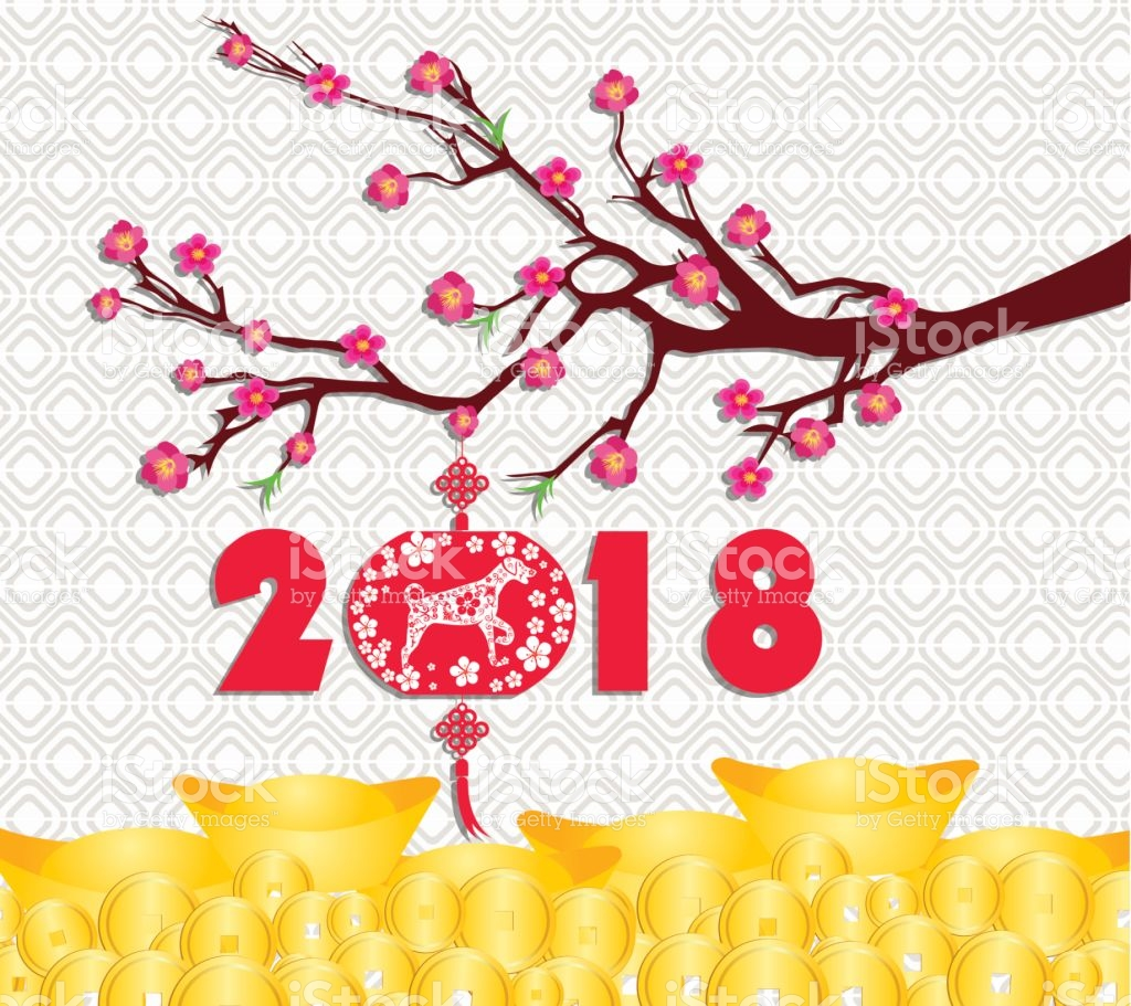Happy Chinese New Year 2018 Card Is Gold Coins Money Year 1024x911