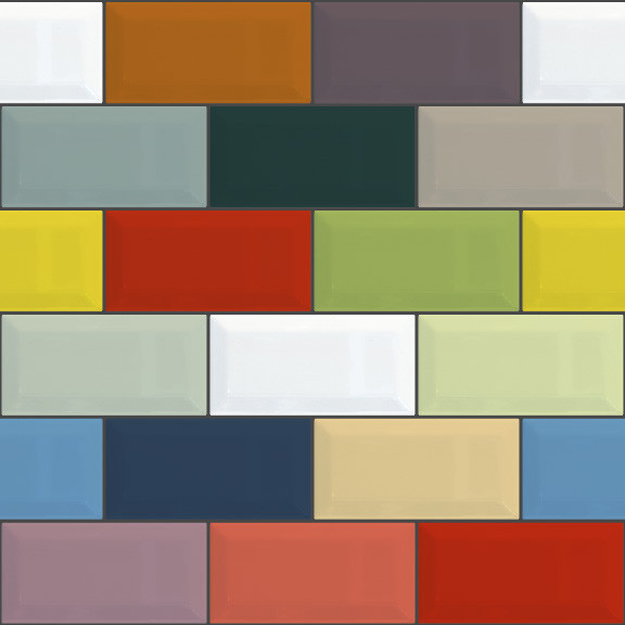Removable Wallpaper   Retro Color Bricks   Contemporary   Wall Decals 576x576