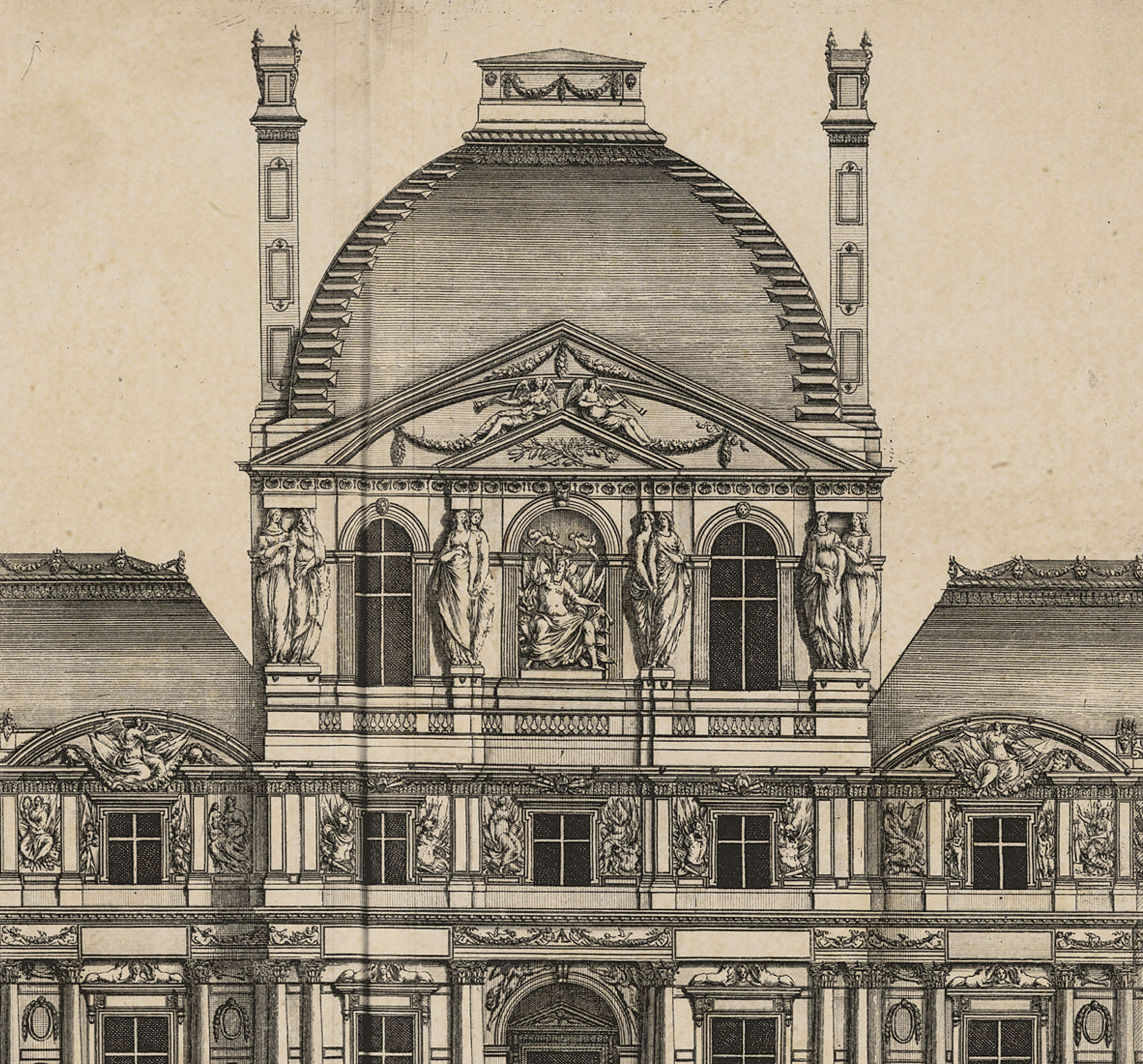 Louvre Elevation Paris 1756   Majesty Maps Prints 2381x2216