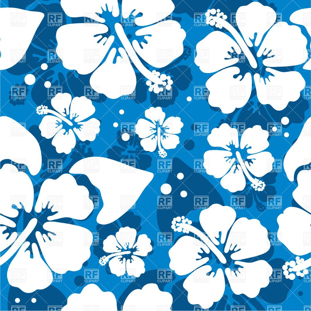 Free Download Blue Pattern With Hawaiian Hibiscus Flower 21110