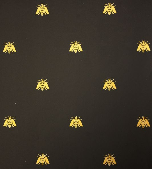 Bee Wallpaper A small gold bee pattern repeat wallpaper on black 59 534x594