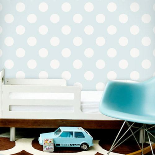 Home Products Polka Dot Off White Blue Removable WallPaper 500x500